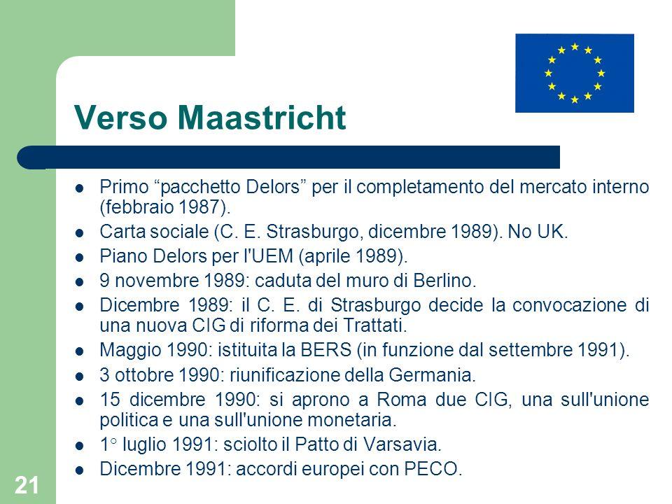 21 Verso Maastricht Primo pacchetto Delors per il completamento del mercato interno (febbraio 1987). Carta sociale (C. E. Strasburgo, dicembre 1989).