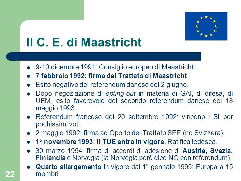 22 Il C. E. di Maastricht 9-10 dicembre 1991: Consiglio europeo di Maastricht. 7 febbraio 1992: firma del Trattato di Maastricht Esito negativo del re