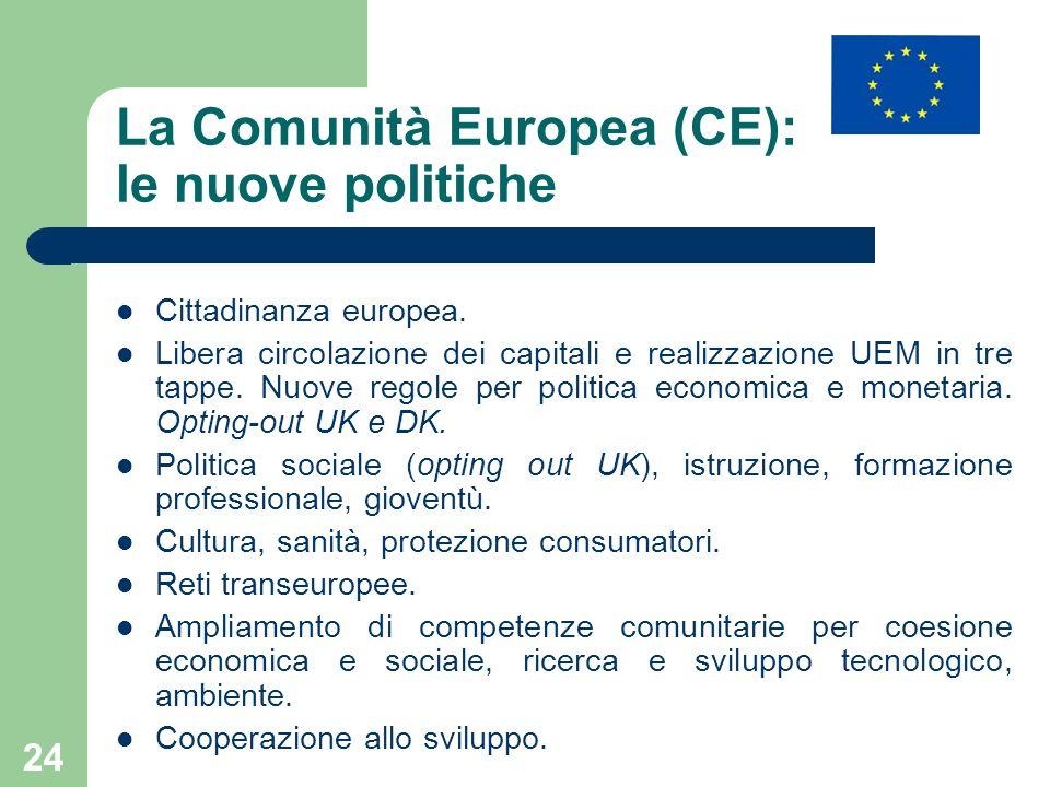 24 La Comunità Europea (CE): le nuove politiche Cittadinanza europea. Libera circolazione dei capitali e realizzazione UEM in tre tappe. Nuove regole