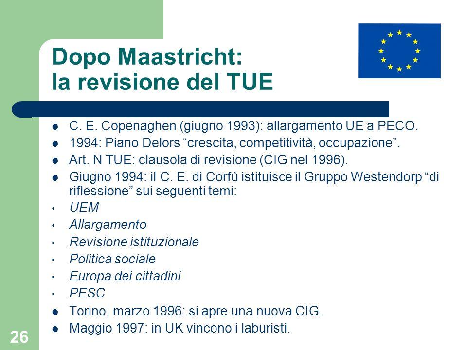 26 Dopo Maastricht: la revisione del TUE C. E. Copenaghen (giugno 1993): allargamento UE a PECO. 1994: Piano Delors crescita, competitività, occupazio