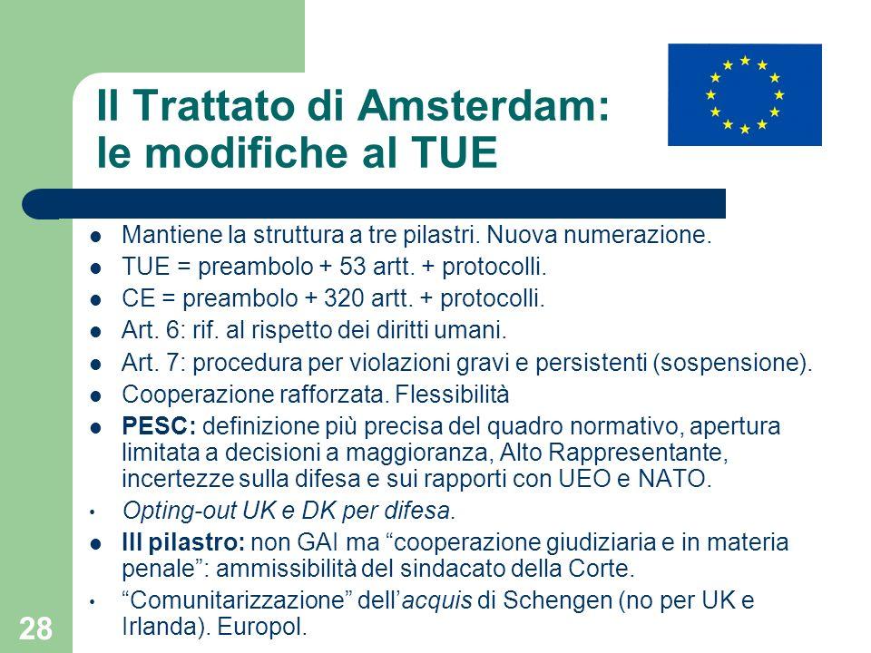 28 Il Trattato di Amsterdam: le modifiche al TUE Mantiene la struttura a tre pilastri. Nuova numerazione. TUE = preambolo + 53 artt. + protocolli. CE
