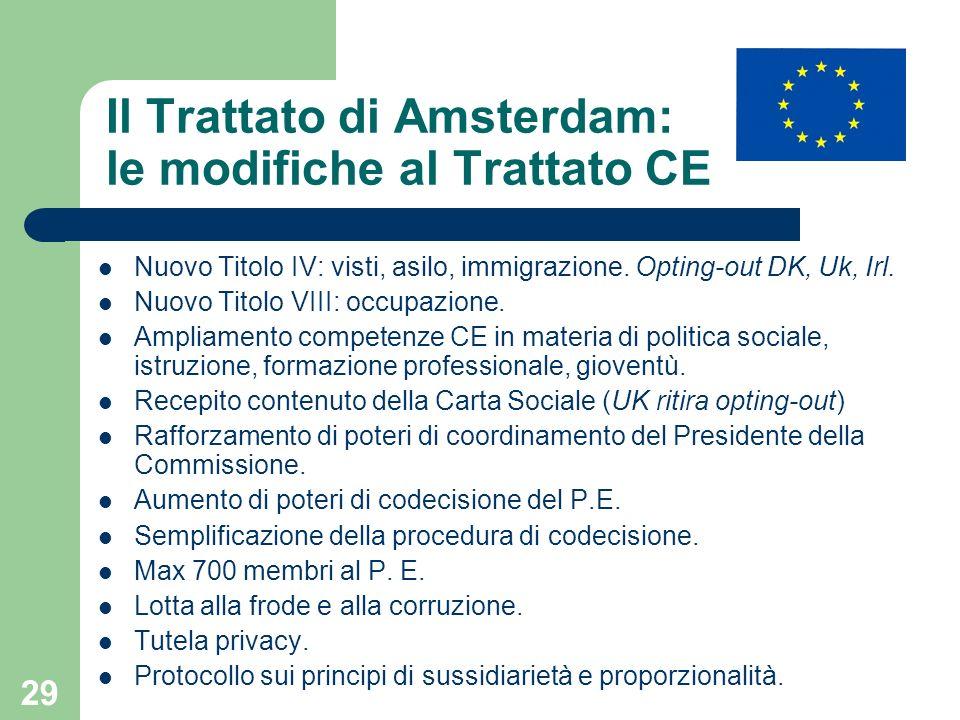 29 Il Trattato di Amsterdam: le modifiche al Trattato CE Nuovo Titolo IV: visti, asilo, immigrazione. Opting-out DK, Uk, Irl. Nuovo Titolo VIII: occup