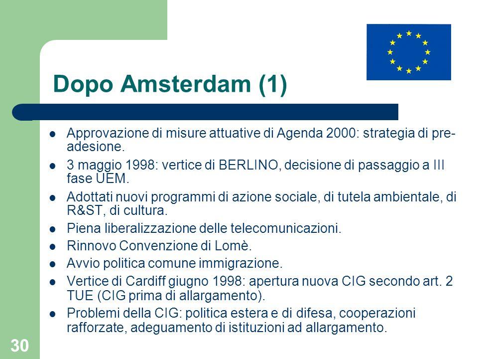 30 Dopo Amsterdam (1) Approvazione di misure attuative di Agenda 2000: strategia di pre- adesione. 3 maggio 1998: vertice di BERLINO, decisione di pas