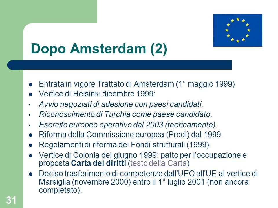31 Dopo Amsterdam (2) Entrata in vigore Trattato di Amsterdam (1° maggio 1999) Vertice di Helsinki dicembre 1999: Avvio negoziati di adesione con paes
