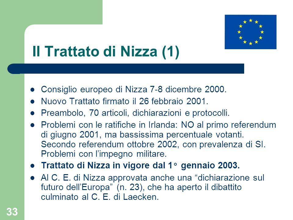 33 Il Trattato di Nizza (1) Consiglio europeo di Nizza 7-8 dicembre 2000. Nuovo Trattato firmato il 26 febbraio 2001. Preambolo, 70 articoli, dichiara