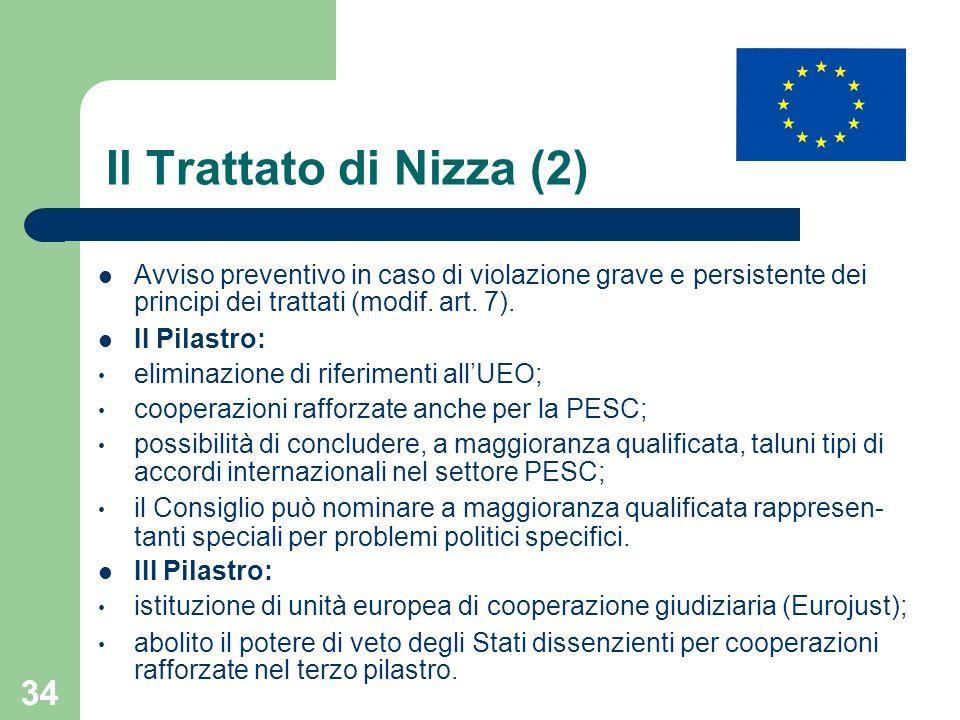 34 Il Trattato di Nizza (2) Avviso preventivo in caso di violazione grave e persistente dei principi dei trattati (modif. art. 7). II Pilastro: elimin