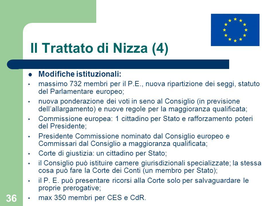 36 Il Trattato di Nizza (4) Modifiche istituzionali: massimo 732 membri per il P.E., nuova ripartizione dei seggi, statuto del Parlamentare europeo; n