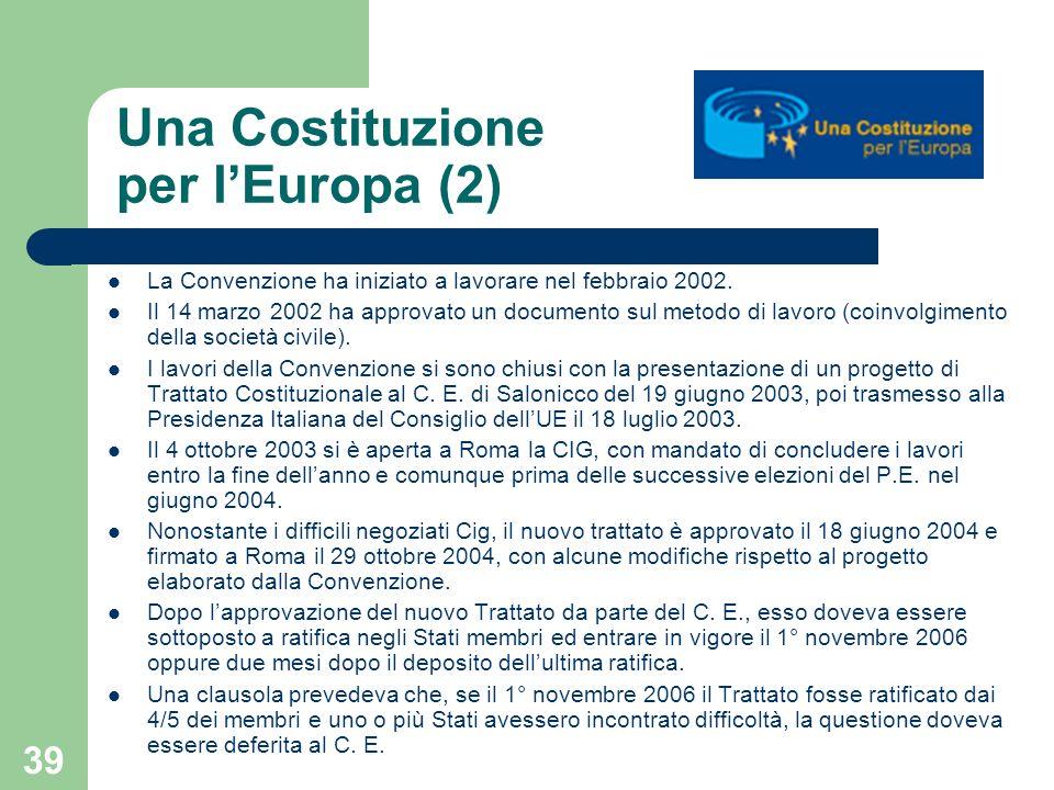 39 Una Costituzione per lEuropa (2) La Convenzione ha iniziato a lavorare nel febbraio 2002. Il 14 marzo 2002 ha approvato un documento sul metodo di