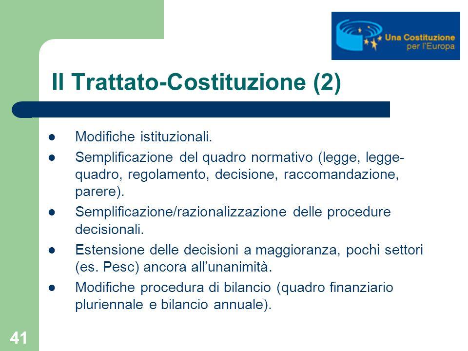 41 Il Trattato-Costituzione (2) Modifiche istituzionali. Semplificazione del quadro normativo (legge, legge- quadro, regolamento, decisione, raccomand