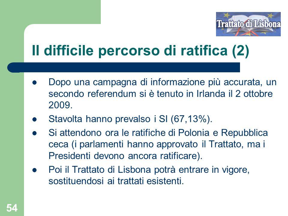 54 Il difficile percorso di ratifica (2) Dopo una campagna di informazione più accurata, un secondo referendum si è tenuto in Irlanda il 2 ottobre 2009.
