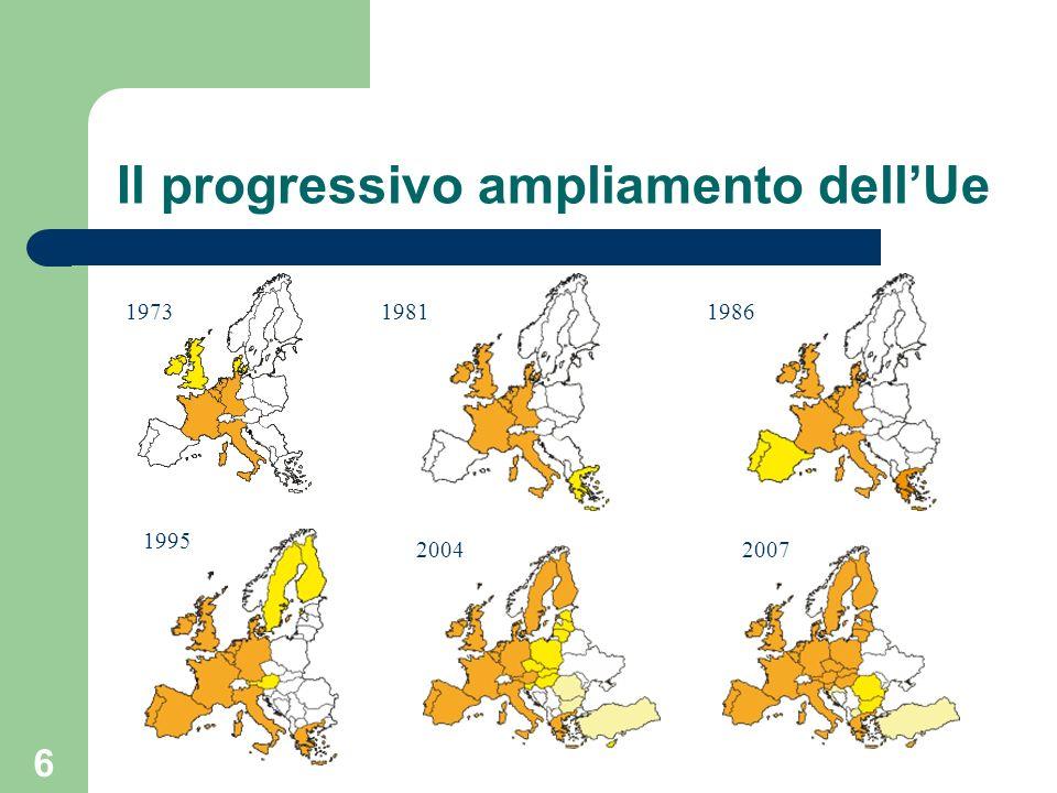 6 Il progressivo ampliamento dellUe 197319811986 1995 20042007