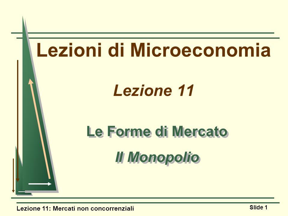 Lezione 11: Mercati non concorrenziali Slide 1 Lezioni di Microeconomia Lezione 11 Le Forme di Mercato Il Monopolio Le Forme di Mercato Il Monopolio