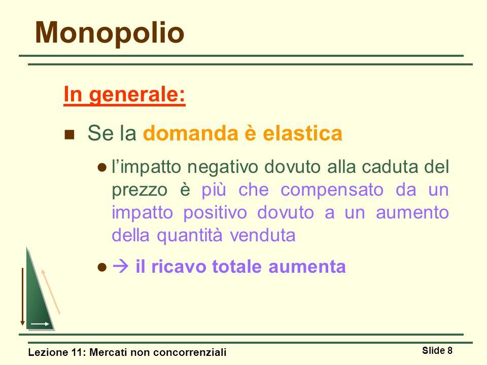 Lezione 11: Mercati non concorrenziali Slide 8 Monopolio In generale: Se la domanda è elastica limpatto negativo dovuto alla caduta del prezzo è più c