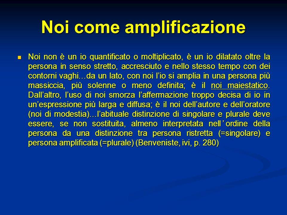 Noi come amplificazione Noi non è un io quantificato o moltiplicato, è un io dilatato oltre la persona in senso stretto, accresciuto e nello stesso te