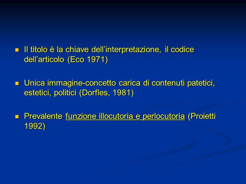 Il titolo è la chiave dellinterpretazione, il codice dellarticolo (Eco 1971) Il titolo è la chiave dellinterpretazione, il codice dellarticolo (Eco 19