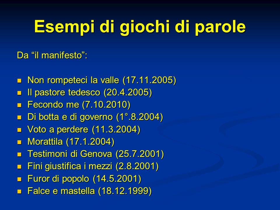 Esempi di giochi di parole Da il manifesto: Non rompeteci la valle (17.11.2005) Non rompeteci la valle (17.11.2005) Il pastore tedesco (20.4.2005) Il