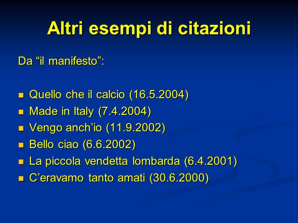 Altri esempi di citazioni Da il manifesto: Quello che il calcio (16.5.2004) Quello che il calcio (16.5.2004) Made in Italy (7.4.2004) Made in Italy (7