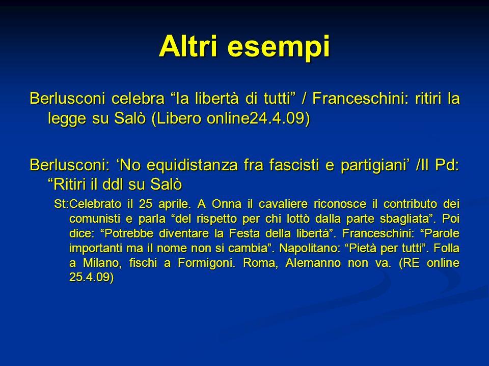 Altri esempi Berlusconi celebra la libertà di tutti / Franceschini: ritiri la legge su Salò (Libero online24.4.09) Berlusconi: No equidistanza fra fas