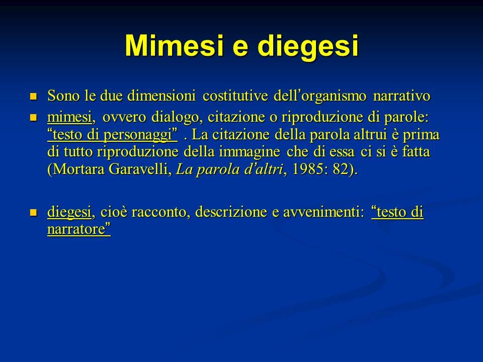 Mimesi e diegesi Sono le due dimensioni costitutive dell organismo narrativo Sono le due dimensioni costitutive dell organismo narrativo mimesi, ovver