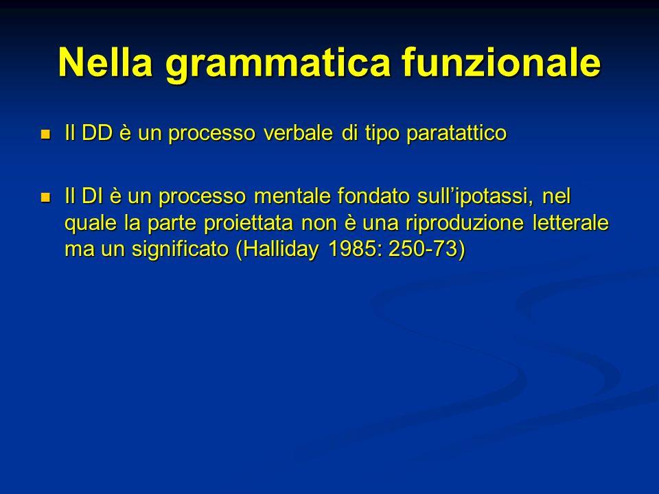 Nella grammatica funzionale Il DD è un processo verbale di tipo paratattico Il DD è un processo verbale di tipo paratattico Il DI è un processo mental