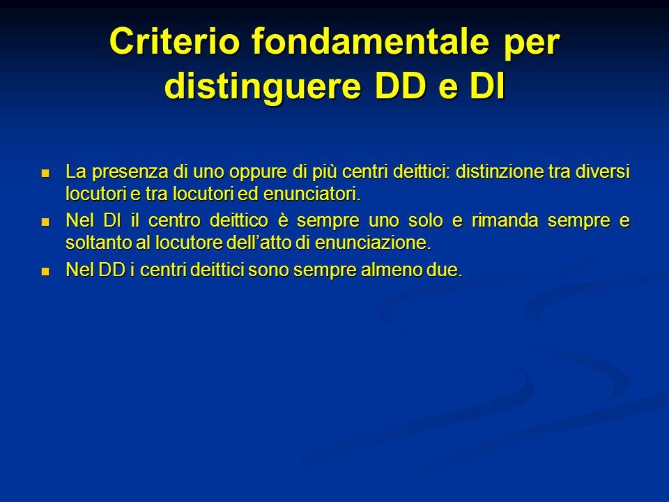 Criterio fondamentale per distinguere DD e DI La presenza di uno oppure di più centri deittici: distinzione tra diversi locutori e tra locutori ed enu