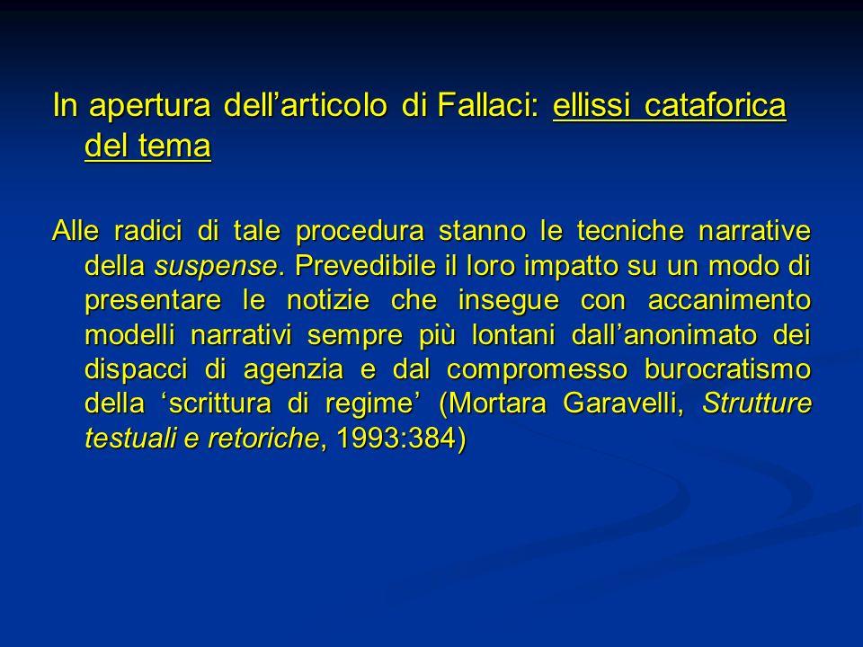 In apertura dellarticolo di Fallaci: ellissi cataforica del tema Alle radici di tale procedura stanno le tecniche narrative della suspense. Prevedibil