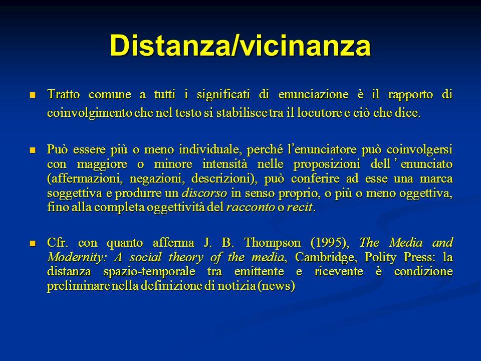 Distanza/vicinanza Tratto comune a tutti i significati di enunciazione è il rapporto di coinvolgimento che nel testo si stabilisce tra il locutore e c