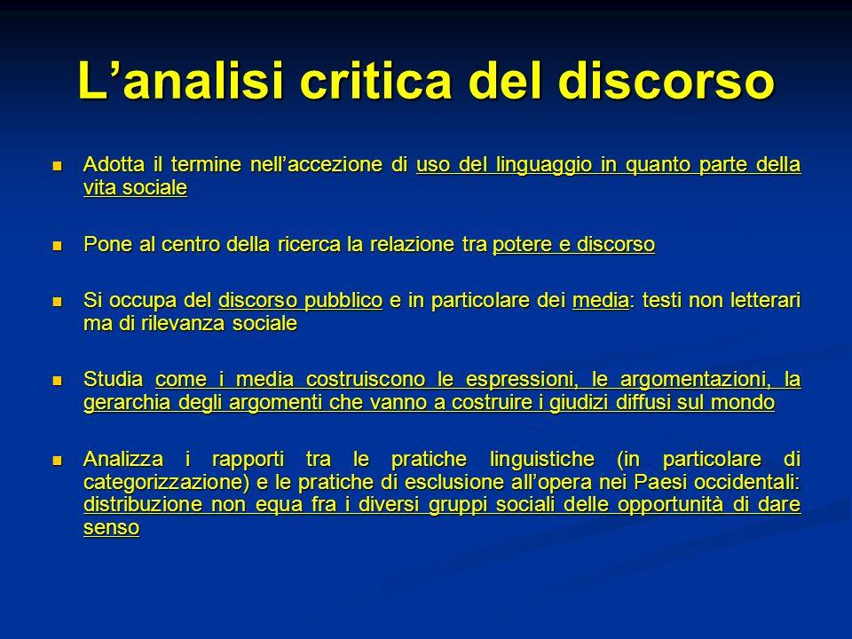 Lanalisi critica del discorso Adotta il termine nellaccezione di uso del linguaggio in quanto parte della vita sociale Adotta il termine nellaccezione