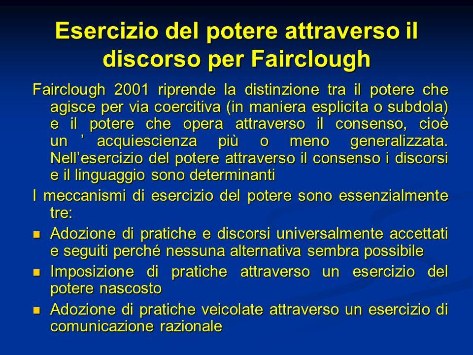 Esercizio del potere attraverso il discorso per Fairclough Fairclough 2001 riprende la distinzione tra il potere che agisce per via coercitiva (in man