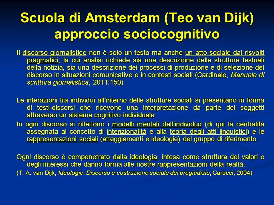 Scuola di Amsterdam (Teo van Dijk) approccio sociocognitivo Il discorso giornalistico non è solo un testo ma anche un atto sociale dai risvolti pragma