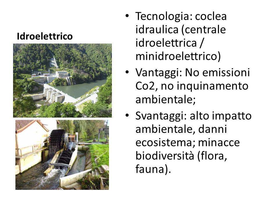 Idroelettrico Tecnologia: coclea idraulica (centrale idroelettrica / minidroelettrico) Vantaggi: No emissioni Co2, no inquinamento ambientale; Svantag