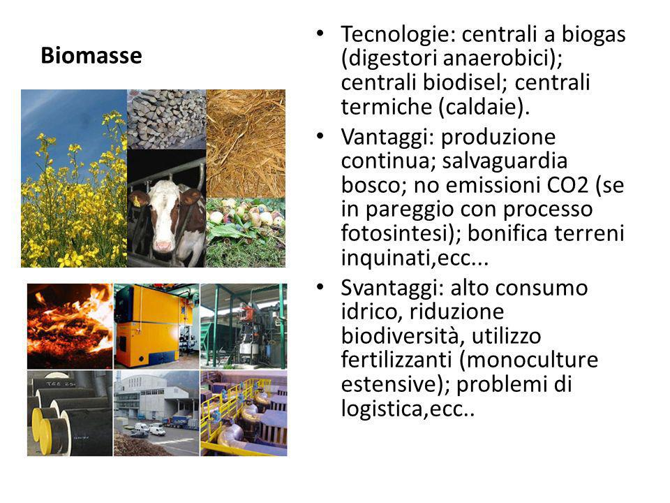 Biomasse Tecnologie: centrali a biogas (digestori anaerobici); centrali biodisel; centrali termiche (caldaie). Vantaggi: produzione continua; salvagua