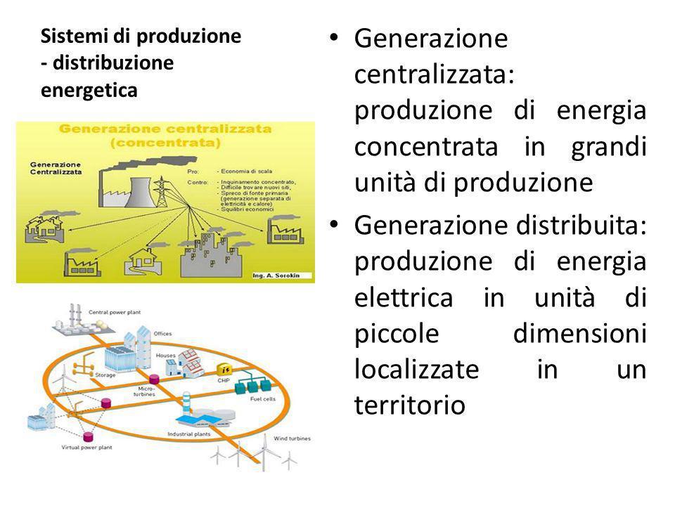 Sistemi di produzione - distribuzione energetica Generazione centralizzata: produzione di energia concentrata in grandi unità di produzione Generazion
