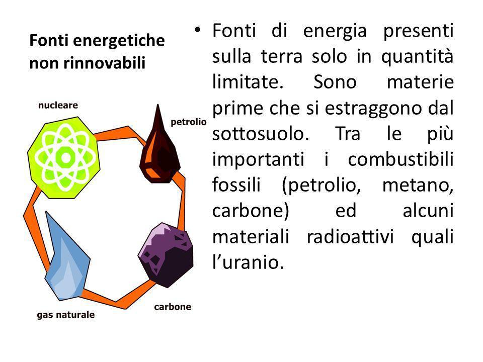 Fonti energetiche non rinnovabili Fonti di energia presenti sulla terra solo in quantità limitate. Sono materie prime che si estraggono dal sottosuolo