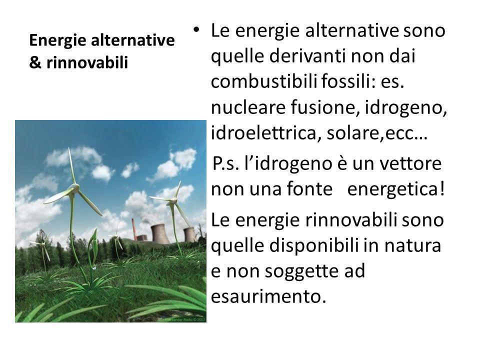 Energie alternative & rinnovabili Le energie alternative sono quelle derivanti non dai combustibili fossili: es. nucleare fusione, idrogeno, idroelett