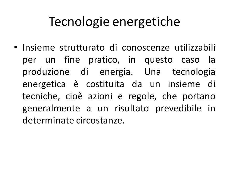Tecnologie energetiche Insieme strutturato di conoscenze utilizzabili per un fine pratico, in questo caso la produzione di energia. Una tecnologia ene