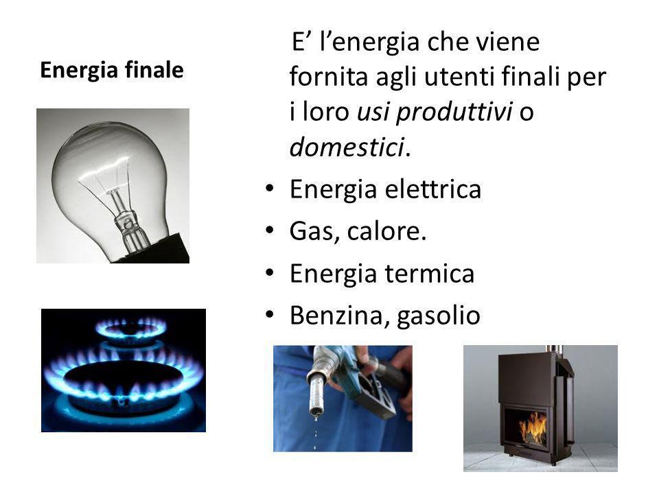Energia finale E lenergia che viene fornita agli utenti finali per i loro usi produttivi o domestici. Energia elettrica Gas, calore. Energia termica B