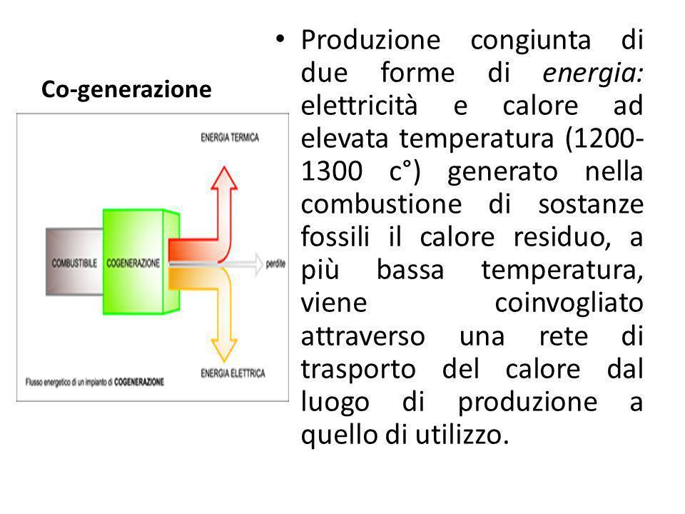 Co-generazione Produzione congiunta di due forme di energia: elettricità e calore ad elevata temperatura (1200- 1300 c°) generato nella combustione di