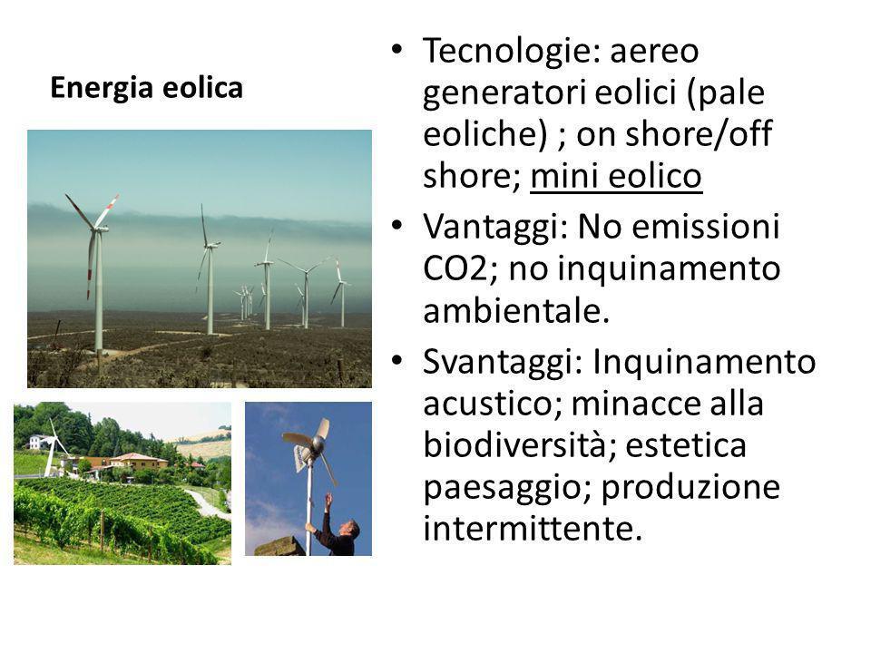 Energia eolica Tecnologie: aereo generatori eolici (pale eoliche) ; on shore/off shore; mini eolico Vantaggi: No emissioni CO2; no inquinamento ambien