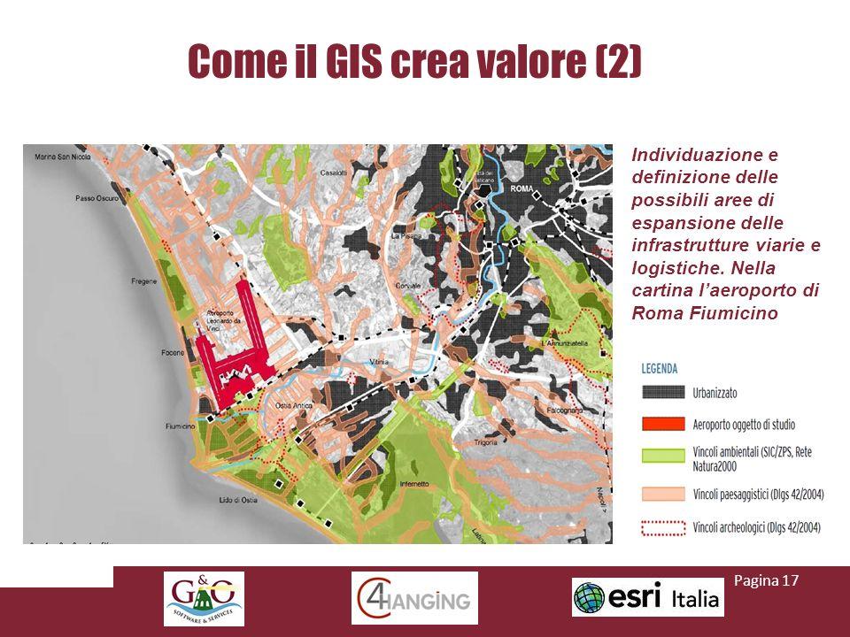 Come il GIS crea valore (2) Individuazione e definizione delle possibili aree di espansione delle infrastrutture viarie e logistiche.