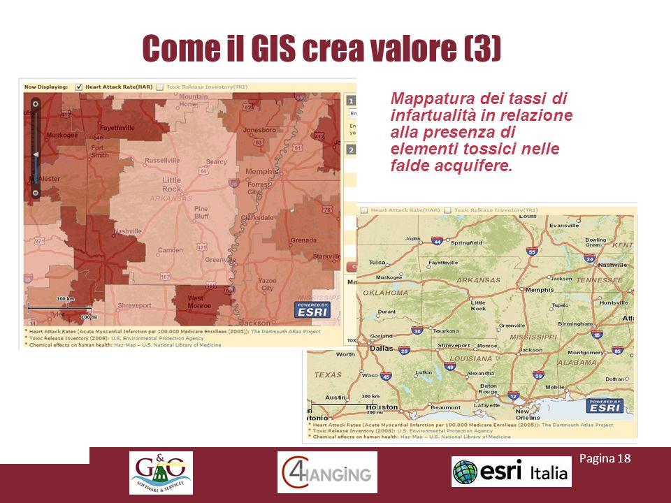 Come il GIS crea valore (3) Mappatura dei tassi di infartualità in relazione alla presenza di elementi tossici nelle falde acquifere.