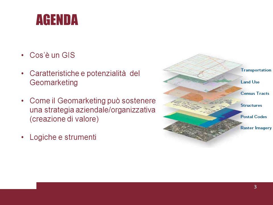 AGENDA 3 Cosè un GIS Caratteristiche e potenzialità del Geomarketing Come il Geomarketing può sostenere una strategia aziendale/organizzativa (creazione di valore) Logiche e strumenti