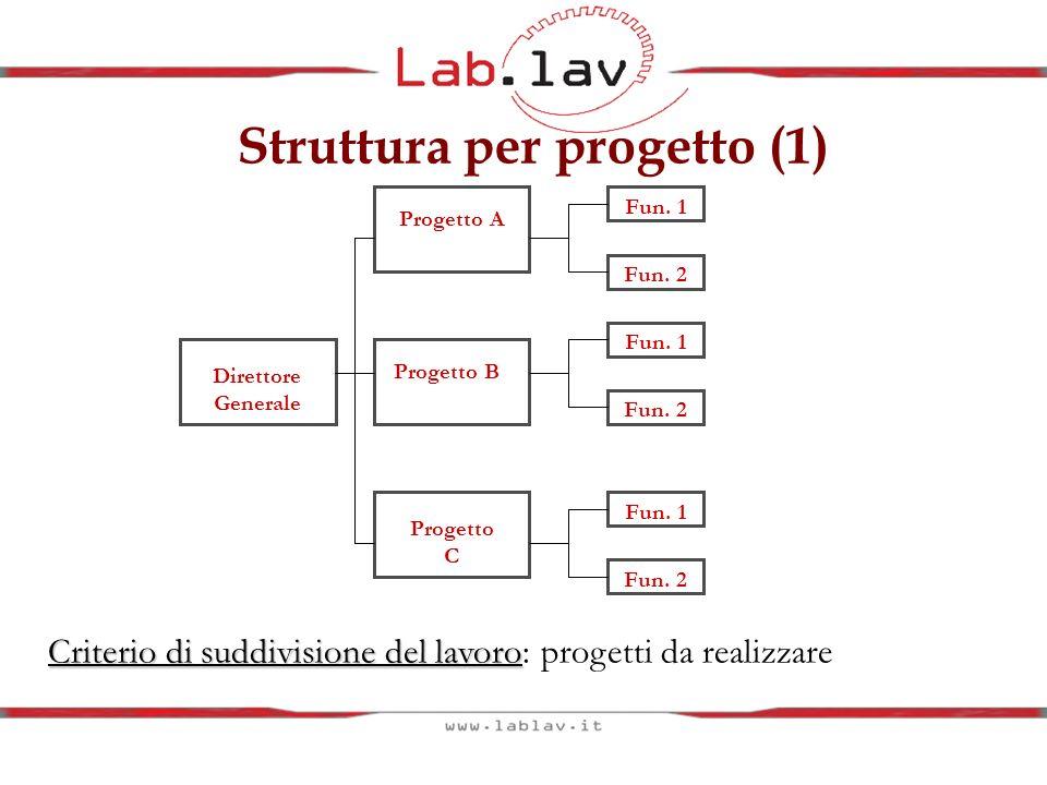 Struttura per progetto (1) Direttore Generale Progetto A Progetto B Progetto C Fun. 2 Fun. 1 Fun. 2 Fun. 1 Fun. 2 Fun. 1 Criterio di suddivisione del
