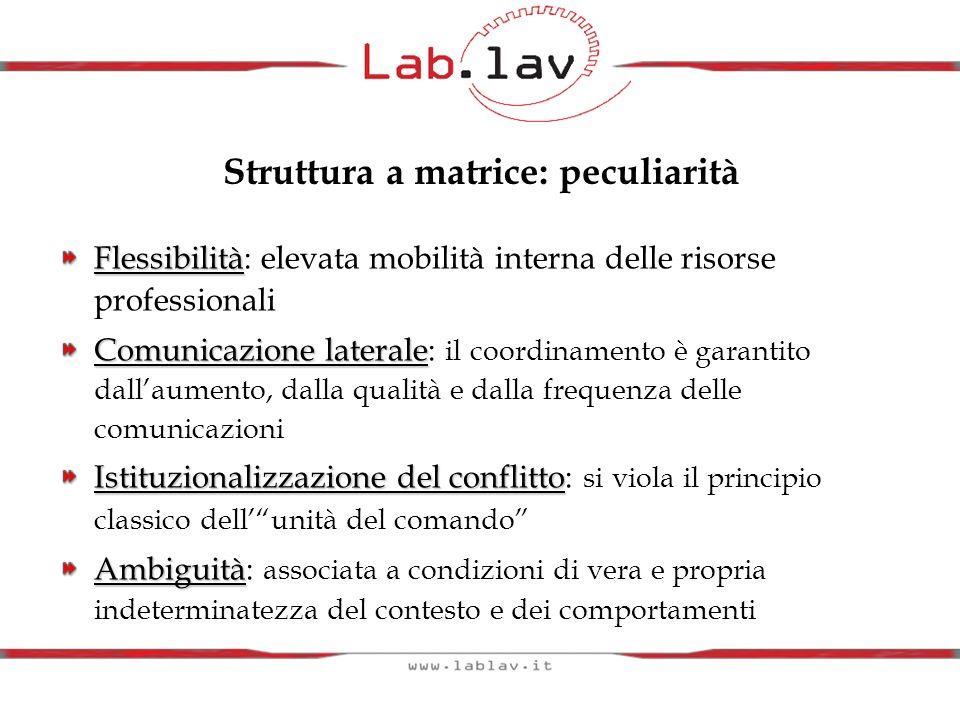 Flessibilità Flessibilità: elevata mobilità interna delle risorse professionali Comunicazione laterale Comunicazione laterale: il coordinamento è gara
