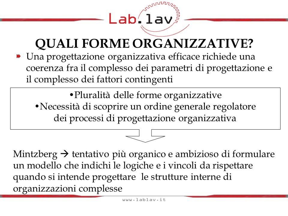 QUALI FORME ORGANIZZATIVE? Una progettazione organizzativa efficace richiede una coerenza fra il complesso dei parametri di progettazione e il comples