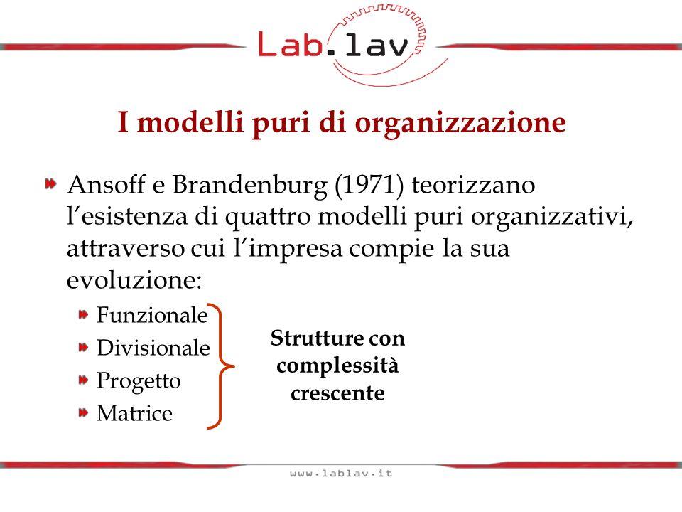 I modelli puri di organizzazione Ansoff e Brandenburg (1971) teorizzano lesistenza di quattro modelli puri organizzativi, attraverso cui limpresa comp