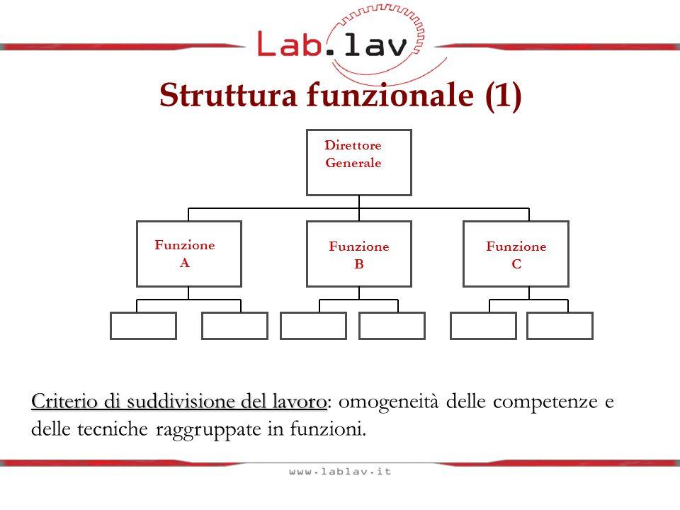 Struttura funzionale (1) Direttore Generale Funzione A Funzione B Funzione C Criterio di suddivisione del lavoro Criterio di suddivisione del lavoro: