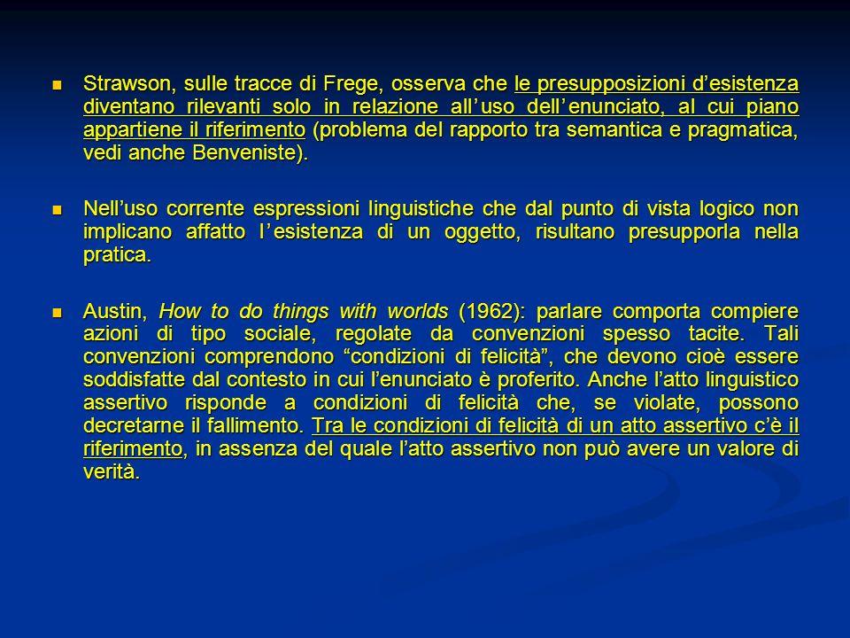Strawson, sulle tracce di Frege, osserva che le presupposizioni desistenza diventano rilevanti solo in relazione alluso dellenunciato, al cui piano ap