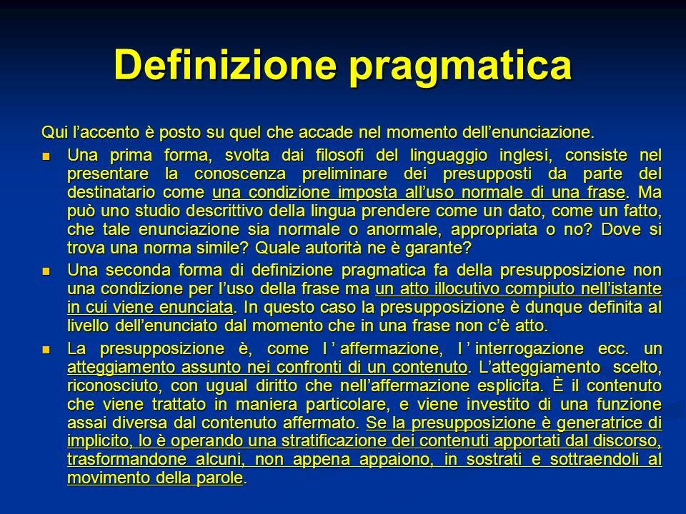 Definizione pragmatica Qui laccento è posto su quel che accade nel momento dellenunciazione. Una prima forma, svolta dai filosofi del linguaggio ingle