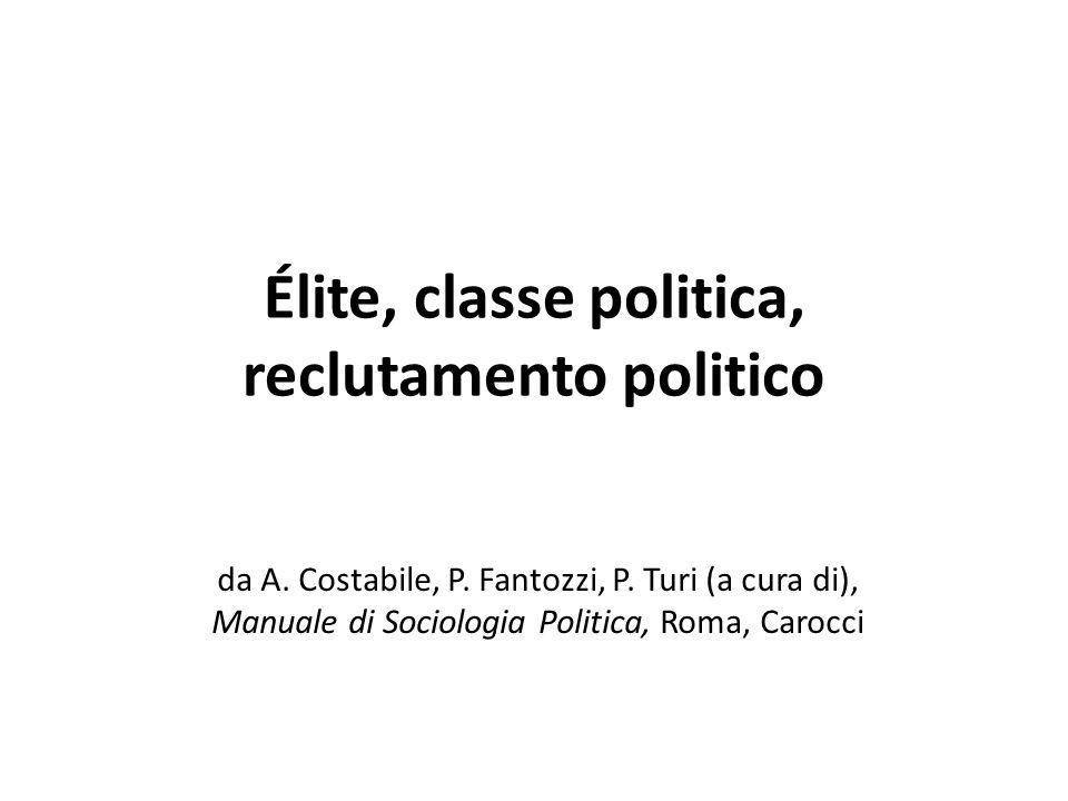 Élite, classe politica, reclutamento politico da A. Costabile, P. Fantozzi, P. Turi (a cura di), Manuale di Sociologia Politica, Roma, Carocci